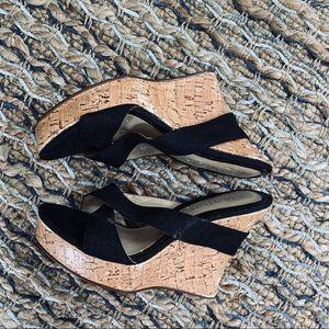 Colin Stuart black cork wedge sandals 9 B